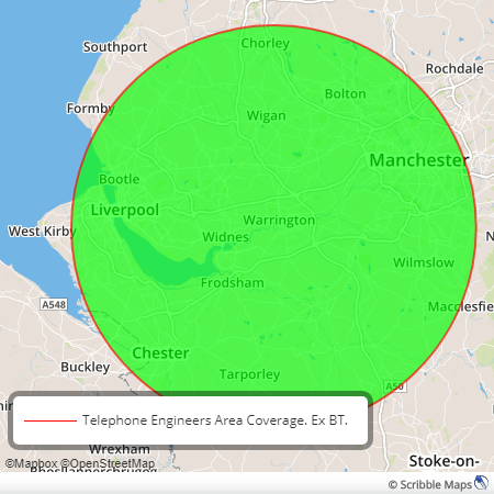 Manchester Telecom Area Coverage. Telephone Engineers Manchester, Cheshire, Lancashire.
